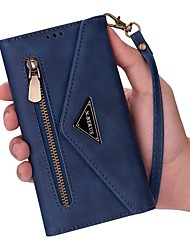 cheap -Phone Case For Apple Full Body Case Leather Wallet Card iPhone 12 Pro Max 11 SE 2020 X XR XS Max 8 7 6 Wallet Card Holder with Stand Solid Color PU Leather