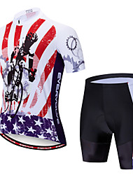 cheap -EVERVOLVE American / USA National Flag Men's Short Sleeve Cycling Jersey with Shorts - Red+Black Bike Clothing Suit Breathable Quick Dry Anatomic Design Sports Polyster Lycra Mountain Bike MTB Road