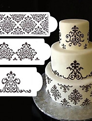 cheap -3Pcs Cake Stencils Biscuit Bakery Template Fondant Mould Crown King Queen Baking Gadgets Cake Spray Flowers Mold