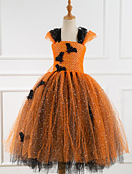 cheap -Little Monster Cosplay Costume Party Costume Costume Girls' Movie Cosplay Tutus Plaited Vacation Dress Orange Dress Halloween Carnival Masquerade Polyester / Cotton Polyester