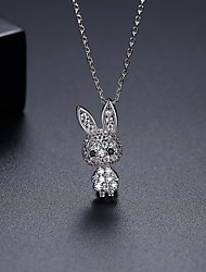 cheap -Women's Pendant Necklace Necklace Classic Rabbit Dainty Simple Trendy Fashion Zircon Copper Silver 45 cm Necklace Jewelry 1pc For Party Evening Gift Street Beach Festival