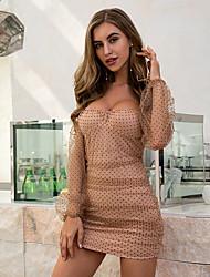 cheap -Women's Sheath Dress Short Mini Dress - Long Sleeve Polka Dot Mesh Patchwork Summer Strapless Casual Elegant Club 2020 Khaki XS XL