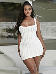 cheap -Women's Sweater Jumper Dress Short Mini Dress - Sleeveless Solid Color Backless Fall Winter Sexy Party Club 2020 White S M L XL
