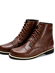 cheap -Men's Boots Casual Daily PU Non-slipping Booties / Ankle Boots Wine / Light Brown / Black Fall / Rivet