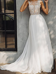 cheap -A-Line Wedding Dresses V Neck Court Train Lace Tulle Sleeveless Beach with Appliques 2021