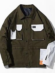 billige -Herre Jakke Normal Farveblok Daglig Basale Hvid / Army Grøn US38 / UK38 / EU46 / US40 / UK40 / EU48 / US42 / UK42 / EU50