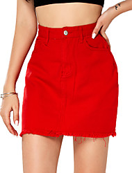cheap -Women's Daily Wear Basic Cotton Mini Skirts Solid Colored Tassel Fringe