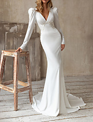 cheap -Sheath / Column Wedding Dresses V Neck Sweep / Brush Train Satin Long Sleeve Vintage with Buttons Appliques 2020
