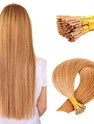 cheap -Fusion / I Tip Hair Extensions Virgin Human Hair Remy Human Hair Human Hair Stick Tip Hair Extensions 50 pcs 50 g Pack Straight Black / Blonde 16-24 inch Hair Extensions