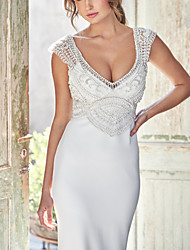 cheap -Mermaid / Trumpet Wedding Dresses Plunging Neck Court Train Jersey Sleeveless Simple with Beading 2021