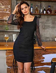 cheap -Sheath / Column Little Black Dress Sexy Homecoming Cocktail Party Dress Scoop Neck Long Sleeve Short / Mini Spandex with Ruched 2020