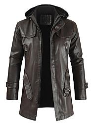 cheap -military grade men's motorcycle brando style biker real leather hoodie jacket outwear coat overcoat (coffee,xx-large)