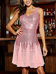 cheap -Women's A Line Dress Knee Length Dress White Blushing Pink Sleeveless Solid Color Backless Sequins Fall V Neck Hot Sexy 2021 S M L XL