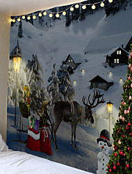 cheap -Christmas Weihnachten Santa Claus Wall Tapestry Art Decor Blanket Curtain Picnic Tablecloth Hanging Home Bedroom Living Room Dorm Decoration Elk Snow Snowman Christmas Tree Polyester