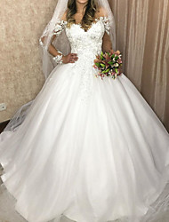 cheap -Ball Gown Wedding Dresses V Neck Sweep / Brush Train Lace Tulle Sleeveless Formal with Appliques 2020