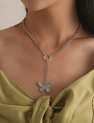 cheap -Women's Pendant Necklace Necklace Classic Butterfly Classic Rustic Natural Trendy Alloy Silver 40 cm Necklace Jewelry 1pc For Party Evening Gift Street Birthday Party Festival / Y Necklace