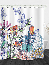 cheap -Beautiful Flowers And Butterflies Digital Print Waterproof Fabric Shower Curtain For Bathroom Home Decor Covered Bathtub Curtains Liner Includes With Hooks