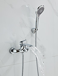 cheap -Bathtub Faucet - Contemporary Chrome Wall Installation Ceramic Valve Bath Shower Mixer Taps