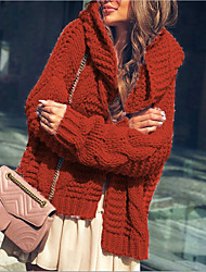 cheap -Women's Basic Knitted Solid Colored Cardigan Long Sleeve Sweater Cardigans Hooded Fall Winter Red Blushing Pink Wine