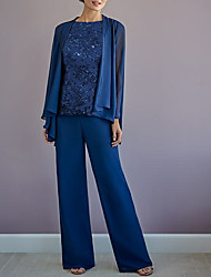 cheap -Pantsuit / Jumpsuit Mother of the Bride Dress Wrap Included Jewel Neck Floor Length Chiffon Long Sleeve with Appliques 2021