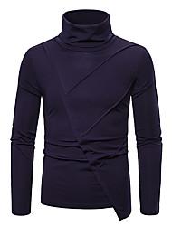 cheap -Men's T shirt Solid Colored Asymmetric Long Sleeve Daily Tops Basic White Black Navy Blue