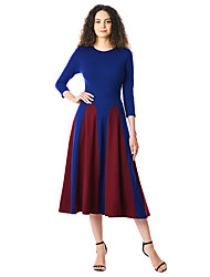 cheap -Women's Swing Dress Midi Dress - 3/4 Length Sleeve Striped Ruched Patchwork Summer Casual Cotton Slim 2020 Blue S M L XL