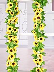 cheap -30LED 2.4M Artificial Sunflower Garland Silk Fake Flowers Ivy Leaf Plants Home Decor Flower Wall Wreath 240cm