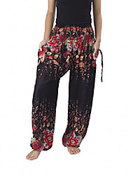 cheap -women's flowers yoga boho pants long beach summer harem pants (us size 0-10, black)