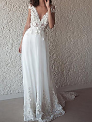 cheap -A-Line Wedding Dresses V Neck Sweep / Brush Train Chiffon Sleeveless Beach with Appliques 2021