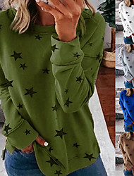 cheap -Women's Sweatshirt Artistic Style Crew Neck Stars Sport Athleisure Pullover Long Sleeve Warm Soft Oversized Comfortable Everyday Use Causal Exercising General Use