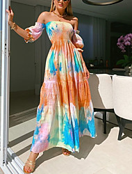 cheap -Women's Swing Dress Maxi long Dress - 3/4 Length Sleeve Print Print Summer Strapless Casual Boho Party Going out Lantern Sleeve Loose 2020 Rainbow S M L XL