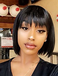 cheap -Remy Human Hair Wig Short Natural Straight Short Bob With Bangs Natural Black Natural Hot Sale Cool Capless Women's Girls' Natural Black 10 inch