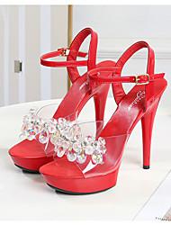 cheap -Women's Dance Shoes Pole Dancing Shoes Heel Crystals Slim High Heel Dark Red White Black Buckle