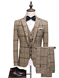 cheap -Tuxedos Tailored Fit / Standard Fit Single Breasted One-button Cotton Blend / Cotton / Polyester Plaid / Check