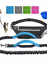 cheap -hands free dog leash for running training walking, extendable bungee dog running waist leash for medium and large dogs, dual handles adjustable waist belt with a free dog bowl