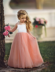 cheap -Kids Girls' Flower Basic Party Quinceanera Wedding Party Dusty Rose Solid Colored Sleeveless Maxi Dress Purple