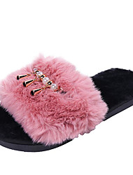 cheap -Women's Slippers & Flip-Flops Flat Heel Open Toe Casual Basic Daily Solid Colored Faux Fur Walking Shoes Black / Dusty Rose / Pink