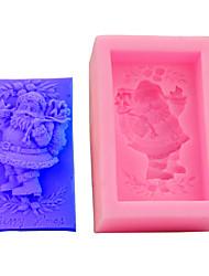 cheap -1 Pcs 3D Cake Mold Rectangle Santa Silicone Mold