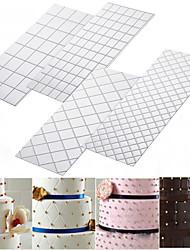 cheap -4PCS Grid Imprint Mat Set Texture Sheet Texture Mat Buttercream Fondant Cake Border Decoration Imprint Baking Mat DIY Cake Mold