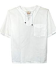 cheap -henley white v neck short sleeve shirt for men - 100% cotton with ethnic rope closure & #40;white xxlarge& #41;