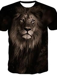 cheap -Men's T shirt Graphic Animal Print Short Sleeve Daily Tops Streetwear Black