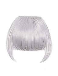 cheap -clip in bangs fringe hair extensions with temples synthetic fashion hair-pieces sliver grey