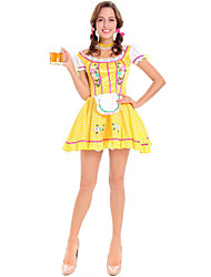 رخيصةأون -مهرجان أكتوبرفست Trachtenkleider نسائي مجوهرات الشعر فستان ملخصات البافارية كوستيوم أصفر / Neckwear