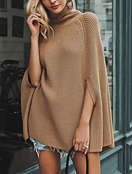 cheap -Women's Basic Knitted Solid Color Plain Pullover Cotton Long Sleeve Loose Sweater Cardigans Turtleneck Fall Winter White Black Khaki