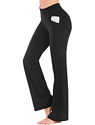 cheap -Women's High Waist Yoga Pants Bootcut Flare Leg Tummy Control 4 Way Stretch Breathable Dark Grey Wine Ion Grey Fitness Gym Workout Dance Winter Sports Activewear High Elasticity / Quick Dry