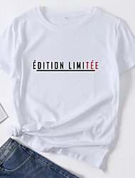 cheap -Women's T-shirt Letter Print Round Neck Tops Loose 100% Cotton Basic Top White Blue Red