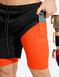 cheap -Men's Running Shorts Sports & Outdoor Shorts Bottoms 2 in 1 with Phone Pocket Liner Fitness Gym Workout Running Jogging Trail Quick Dry Breathable Soft Sport Black / Orange Black Red Khaki / Stretchy
