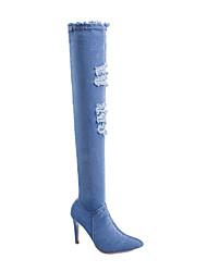 povoljno -Žene Čizme Stiletto potpetica Krakova Toe Ležerne prilike Osnovni Dnevno Jednobojni Mrežica Čizme preko koljena Hodanje Dark Blue / Svjetloplav