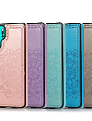 cheap -Case For Huawei Huawei P30 P30 Pro P30 Lite Embossed Back Cover Solid Colored PU Leather TPU