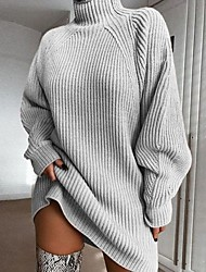 cheap -Women's Basic Knitted Solid Colored Plain Dress Sweater Dress Cotton Long Sleeve Sweater Cardigans Turtleneck Fall Winter Blushing Pink Wine Light gray